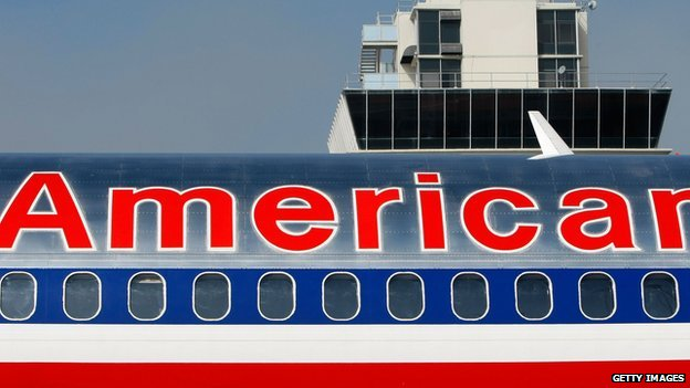 An American Airlines jet in Oakland, California.