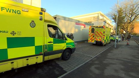 Ambulances outside University Hospital of Wales, Cardiff
