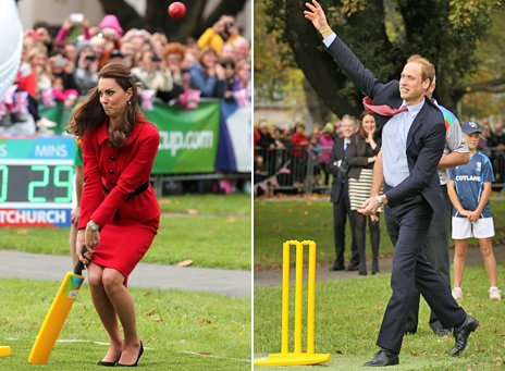 Composite image showing the Duke of Cambridge bowling, right, and the duchess ducking a delivery, left
