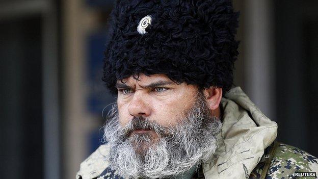 Pro-Russia protester in Sloviansk