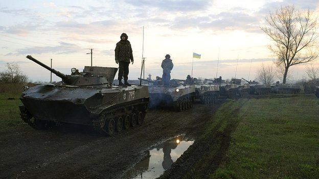 Ukrainian military vehicles about 70km (44 miles) from Sloviansk