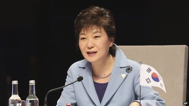 South Korean President Park Geun-hye, in file image from 24 March 2014