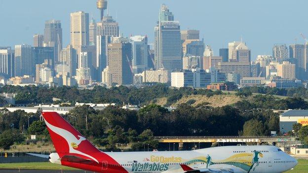 Qantas plane on tarmac at Sydney airport