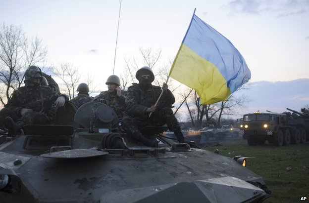 Ukrainian forces 70km (44 miles) from Sloviansk, Donetsk, 14 April