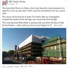 Facebook post on the Assembly Rooms in Derby