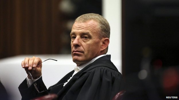 State prosecutor Gerrie Nel gestures as he cross-examines Oscar Pistorius during his trial at North Gauteng High Court in Pretoria, 15 April 2014