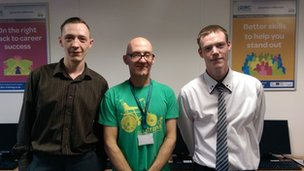 Trevor Cope, Al Ditheridge from Sustrans and Daniel Pickard