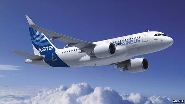 An Airbus A319 passenger jet