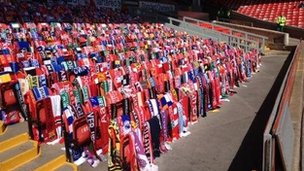 Scarves on empty seats