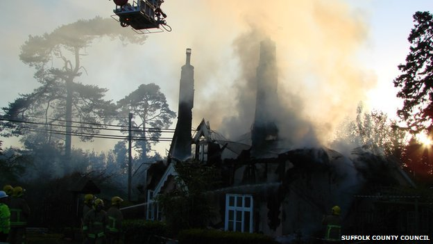Aerial unit tackling fire at Barham cottages