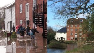 The Mill at Elstead, during and after flooding