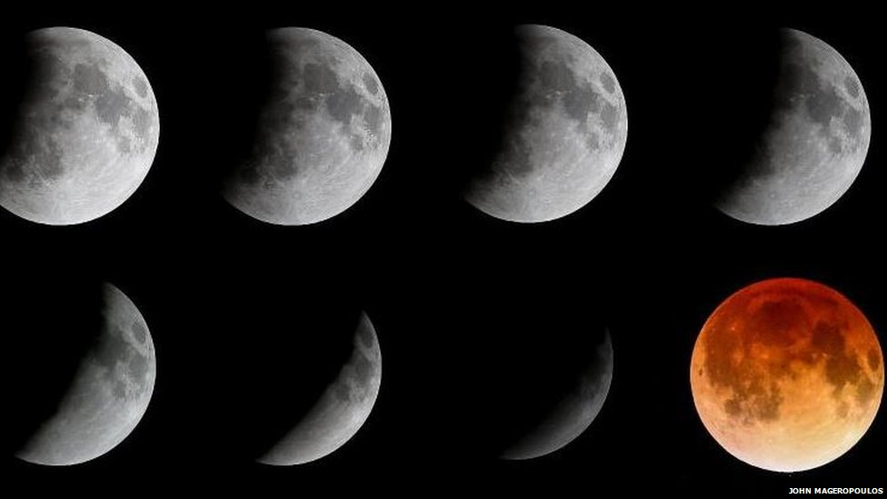 Blood moon in phases Florida, US