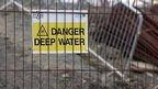 Warning sign for deep water