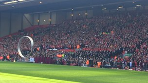The Kop at the Hillsborough memorial service