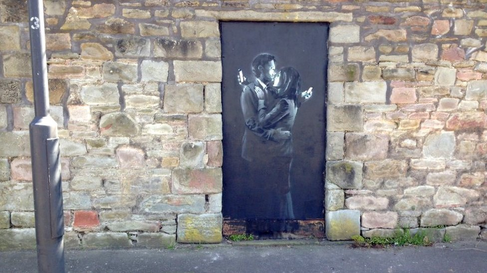 Street art by Banksy in Bristol