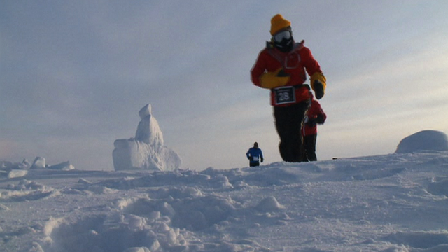 Runners taking part in a marathon at the North Pole