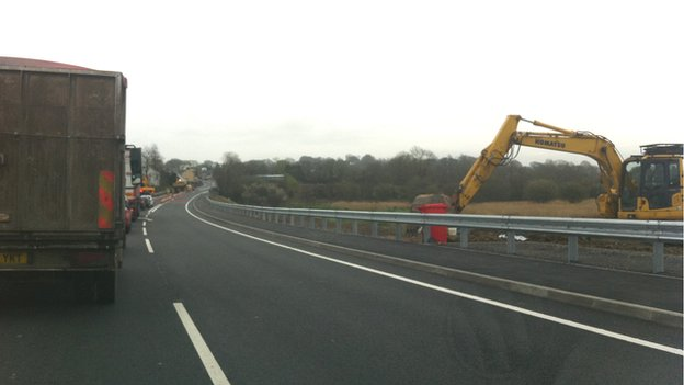 Roadworks near Llanddowror in April 2014