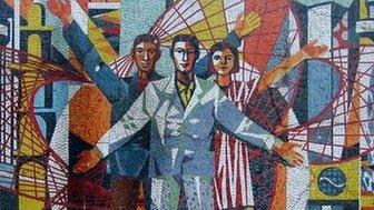 A mural in Eisenhuettenstadt
