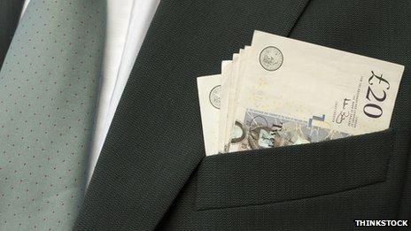Business suit and cash