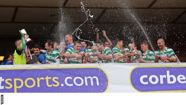 TNS players celebrate their eighth Welsh Premier title