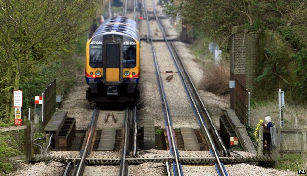 Rail foot crossing near to Moor lane between Staines and Wraysbury in Middlesex, where a woman was killed in 2008