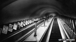 London underground escalator, c. 1930