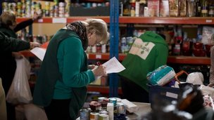 Staff at a food bank