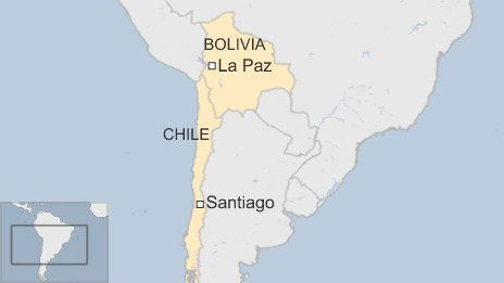 Map of Bolivia and Chile