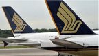 Singapore Airlines A380 planes parked at airport