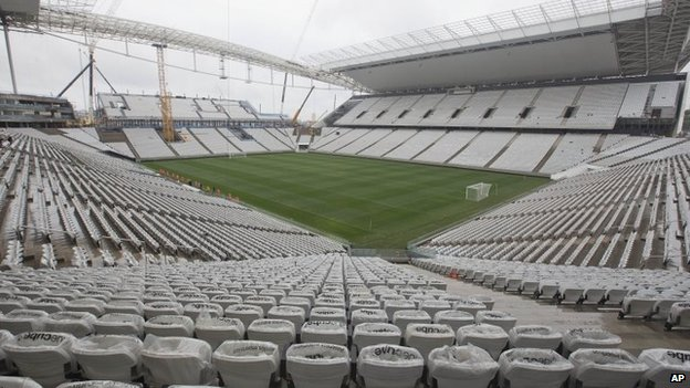 A general view of the still unfinished Itaquerao stadium in Sao Paulo, Brazil, on 15 April 2014.