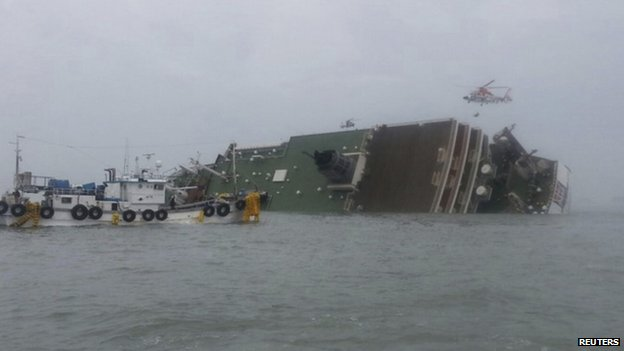 A sinking South Korean passenger ship is seen at the sea off Jindo on 16 April 2014