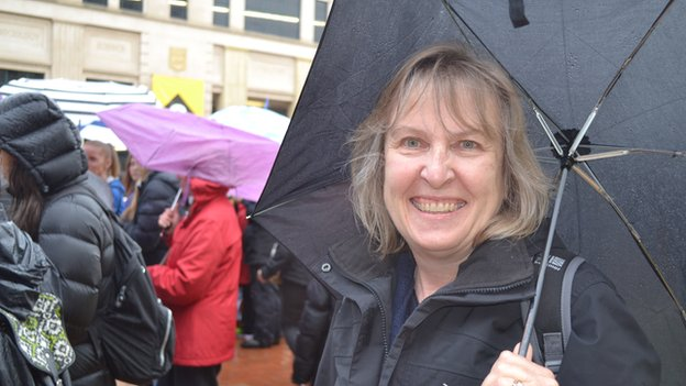 Maggie Gibb from Wiltshire in Wellington's Civic Square before the walkabout began