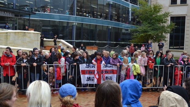The royals would have felt at home to see the England flag on barrier set up for the Wellington walkabout