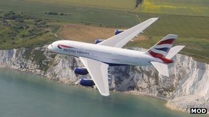 Handout photo dated 15/07/13 issued by British Airways of a British Airways Airbus A380 flying over the cliffs at Dover