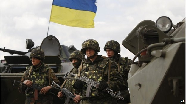 Ukrainian soldiers on the outskirts of Izyum, Eastern Ukraine