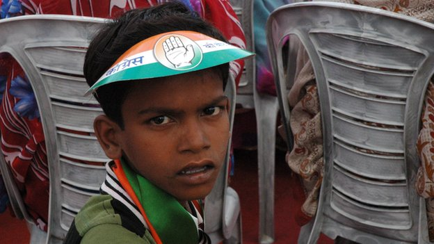 A young Congress supporter in Pratapgarh
