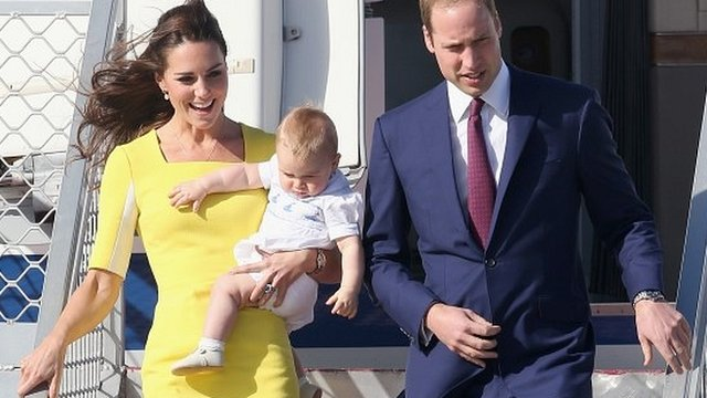 The Duke and Duchess of Cambridge and Prince George arrive in Australia