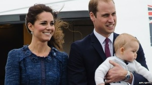 Duke and Duchess of Cambridge and Prince George leaving New Zealand