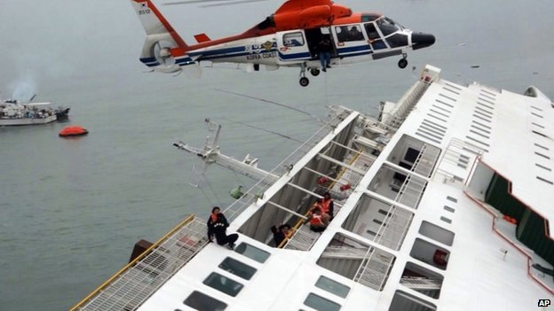 Passengers from the ferry are rescued by a South Korean coast guard helicopter on 16 April 2014