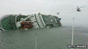 A passenger ferry sinks off the coast of Jindo Island in Jindo-gun, South Korea, 16 April 2014