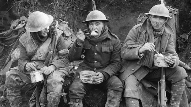 British soldiers eating