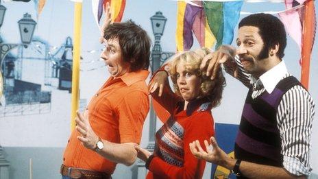 Johnny Ball, Carol Leader and Derek Griffiths in Play School