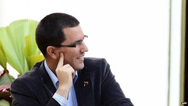 Vice President Jorge Arreaza during an event at Miraflores presidential palace in Caracas on 15 April, 2014