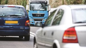 Heavy traffic on the A477 in Carmarthenshire
