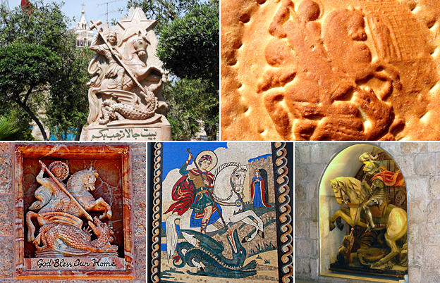 photos of the image of St George on statues, a mosaic, and bread
