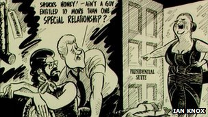 Ian Knox cartoon on Gerry Adams being granted a US visa in 1994