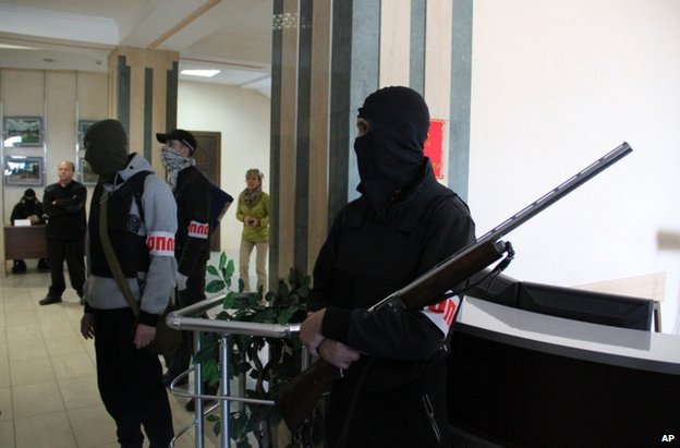 Gunmen inside the mayor's office in Donetsk, Ukraine, 16 April