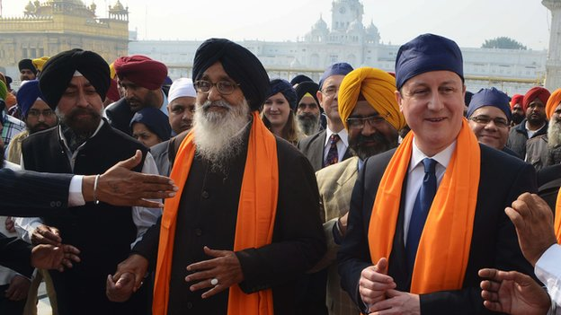 David Cameron with Punjab State Chief Minister Parkash Singh Badal