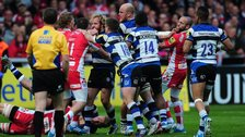 Gloucester v Bath: Brawl between players