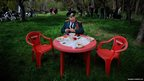 A World War Two veteran relaxes in Simferopol, Crimea